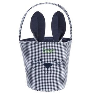 NEW Pottery Barn Bunny Navy White Bucket Basket